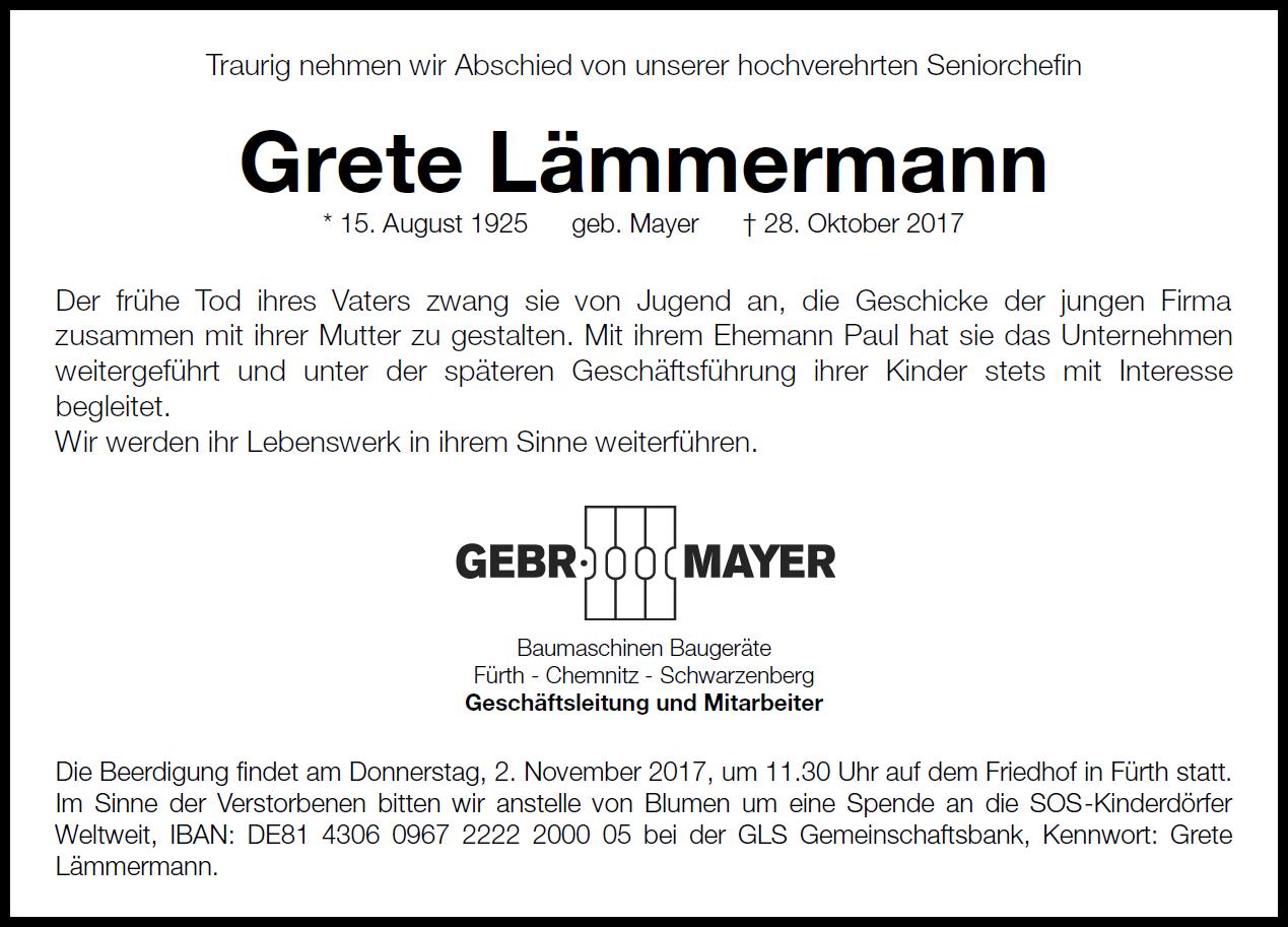Abschied von Grete Lämmermann